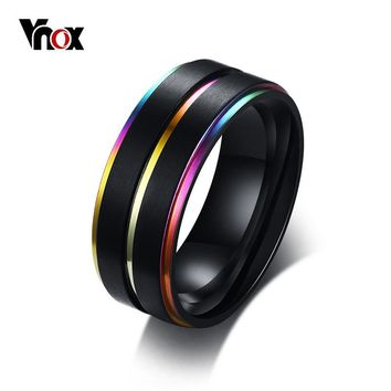 Vnox Cool Thin Rainbow Line Wedding Rings for Men 8MM Black Stainless Steel Boy Anel Masculino Matte Finished Accessories