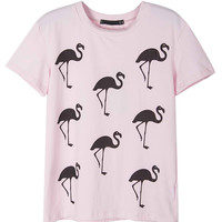 Pink Flamingo Printed Short Sleeve T-shirt