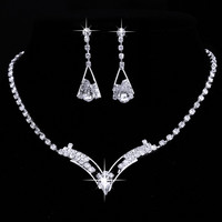Women Sparkling V Shaped Rhinestone Crystal Necklace Earrings Set Charm Wedding Bridal Jewelry Set 2015 charms jewelry
