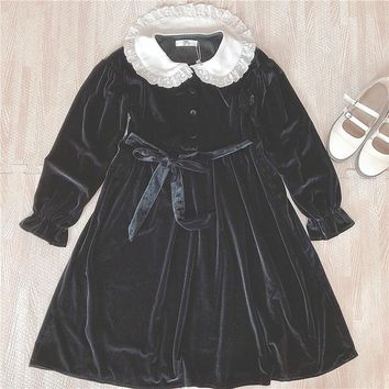 2018 Korean Vintage Black Velvet Lolita Dress Women Japanese Harajuku Long Sleeve Bandage Bow Kawaii Goth Velour Dress for Girls