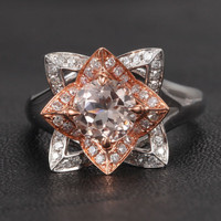 Round Morganite Engagement Ring Diamond 14K Two Tone Gold 7mm Unique Flower CLAW PRONGS