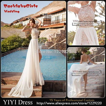 2017 Newest Sexy High Neck Backless Lace Chiffon Casual Beach Wedding Dress Bridal Gown Vestido De Noiva Size 2-28 Custom Made