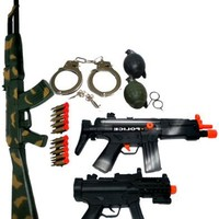 Kids Toy Army Weapon Gun Ak47 Machine Guns Play Set with B/o Grenades & Handcuffs