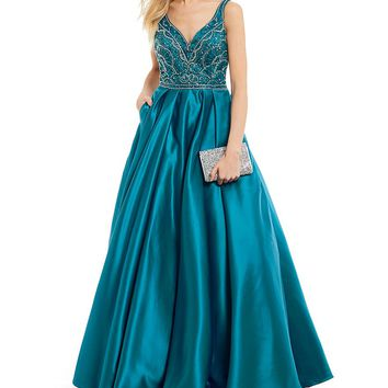 Coya Collection V-Neck Beaded Bodice Ball Gown | Dillards