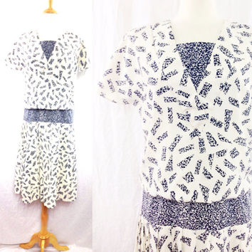 Vintage 80s PERCEPTIONS Low Drop Waist Black & White Pattern New Wave Secretary Dress