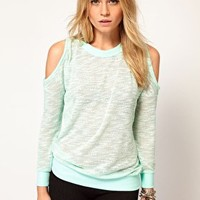 Top in Knitted Marl with Cold Shoulder