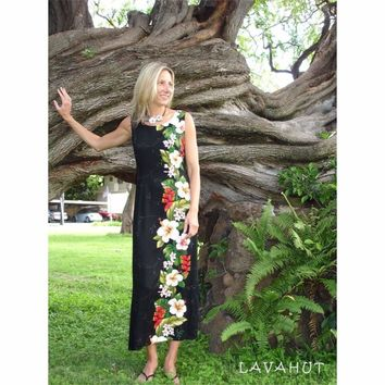 Paradise Black Long Hawaiian Tank Dress