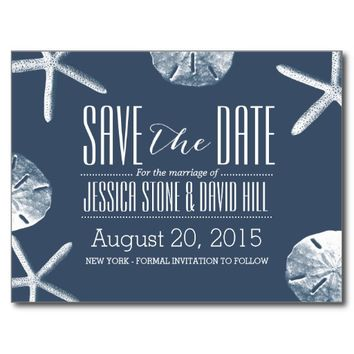 Classy Navy Blue Beach Theme Wedding Save the Date