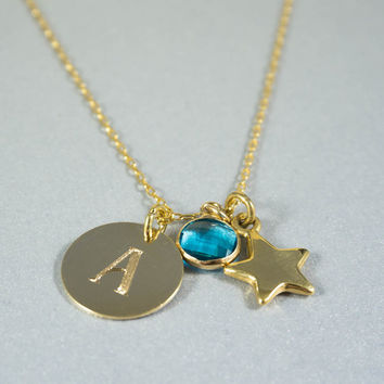 December Birthstone Necklace - Gold Blue Topaz Necklace with Initial Disc and Star Charm, Mom Necklace, Birthstone jewelry, Initial Necklace
