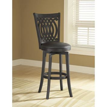 Hillsdale Furniture 4975-827 Dynamic Designs Black Van Draus Wood Swivel Counter Stool with Black Vinyl