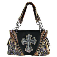 * BLACK WESTERN STUDDED MOSSY CAMO CROSS LOOK SHOULDER HANDBAG  M