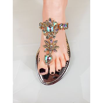 82cd2ff7c Bella Luna Flong 01 Rhinestone Jeweled Flat Summer Sandal Shoe Silver