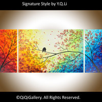 "Landscape Handmade Painting Huge Original Heavy  Texture Impasto Palette Knife Love Birds Tree Wall Decor ""Over the Rainbow"" by QIQIGALLERY"