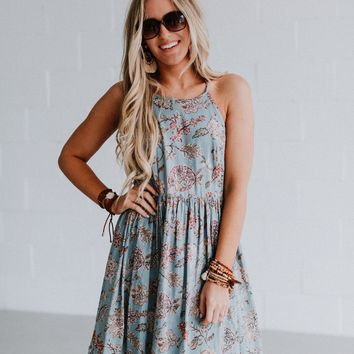 Carmella Floral Gathered Babydoll Mini Dress - Baby Blue Florals