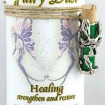 Healing Pillar Candle With Fairy Dust Necklace