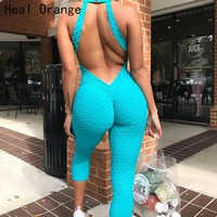 Heal Orange Sexy Backless Women Yoga Jumpsuit Sports Set Yoga Set Woman Summer Running Suits Gym Clothing Women Workout Clothes
