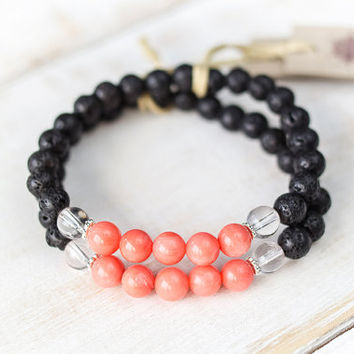 Lava bead bracelet, pink coral bracelet, healing crystals and stones, fertility peach coral root chakra lava bracelet, black lava rock beads