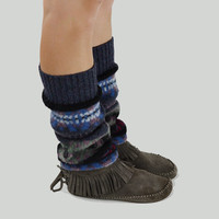 Grunge Leg Warmers in Mauve Pink Green Blue Red and Black - Upcycled Wool Sweater - OOAK