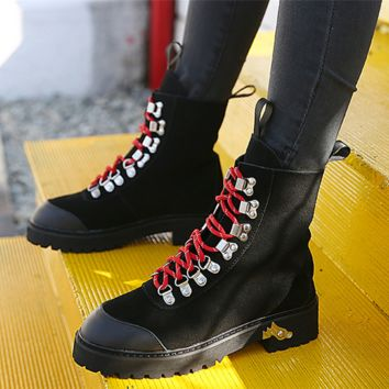 Women Fashion Casual Retro Scrub Round-toe High Help Shoes Martin Boots