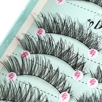 10 Pairs High Quality Hand Made Black Fake Eyelashes Natural Crisscross False Eyelashes For Makeup Beauty Wedding Tools