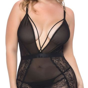 Sexy Nicky V-Plunge Lace Babydoll with Strap Detail