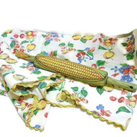 Wood Rolling Pin Painted As An Ear Of Sweet Corn | Hand Painted Rolling Pin