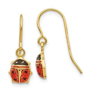 14K Yellow Gold Ladybug French Wire Earrings