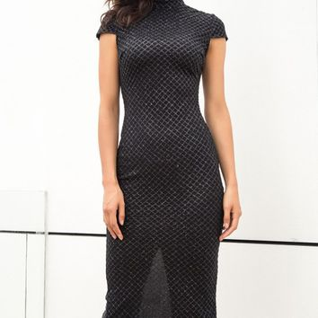 Italian Dreams Black Cap Sleeve Mock Neck Diamond Glitter Pattern Bodycon Midi Dress