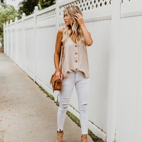 Ganache Button Down Adjustable Tank - Sand