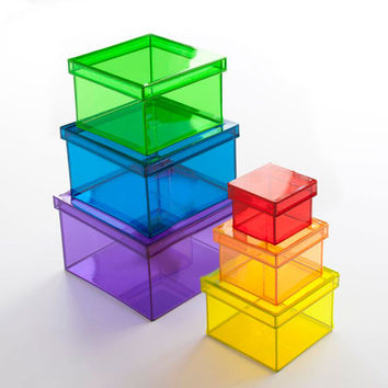 Translucent Rainbow Storage Cubes - Set of 6