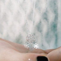 Womens Snowflake Necklace Gift-99