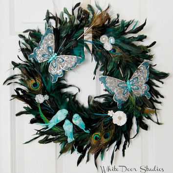 Peacock Feather Wreath,Bird Butterfly Wreath, Front Door Wreath, Indoor Wreath, Spring Wreath, Summer Wreath, Girls Room, Bedroom, Bathroom