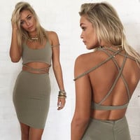 Green-Grey Wrapped Dress