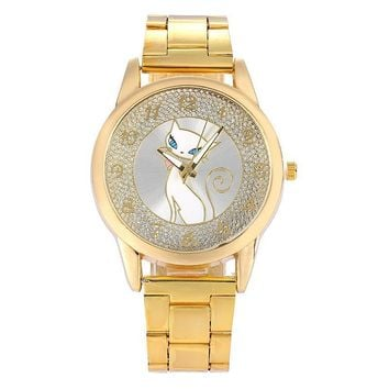 Lady Diamond Gold Stainless Cat Wristwatch