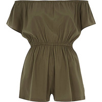 River Island Womens Khaki green bardot playsuit