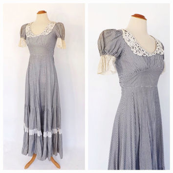 Vintage 1970s Gunne Sax Dress 70s Cotton Gingham Maxi Dress Eyelet Lace Sundress Hippie Prairie Folk Blue White Checkered Civil War Dress