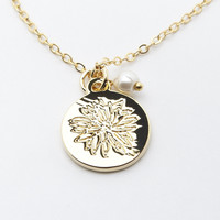 Gold Cactus Flower Pendant Necklace