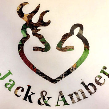 Custom Buck Doe Heart Green Camo Vinyl