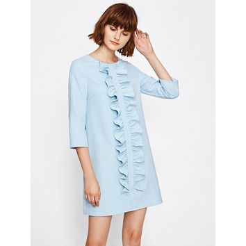 Ruched Flounce Front Tunic Dress