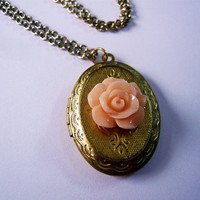 Coral Pink Rose Brass Locket Necklace from MaruMaru