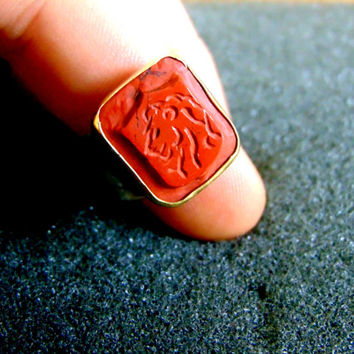 Gryffindor Graduation Ring Harry Potter inspired Jewelry Hogwarts Signet Ring Cosplay Jewelry Lion Stampstone Ring Silver 925 Ring