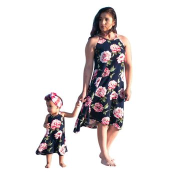 Summer Dress Floral Printed Family Dress Mother and Daughter Matching