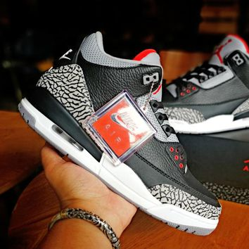 [Free Shipping ]Air Jordan 3 Black Cement Basketball Shoes