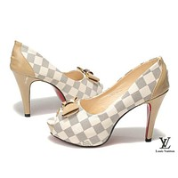 LV Louis Vuitton Trending Ladies Fish mouth Heels Shoes White I