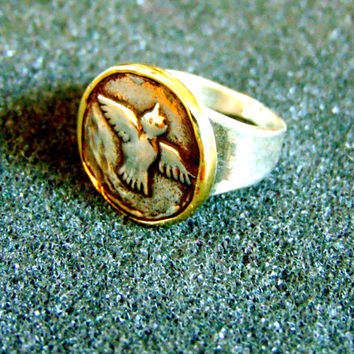 Stunning silver and bronze signet ring-Men's dove statement ring-Men's vinatge ring-925 silver statement ring-Artisan jewelry