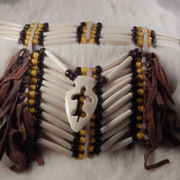 Drop bone choker with white hair pipe and glass pony beads - deerskin fringe; carved bone arrow head drop with Turtle - Purple and Yellow