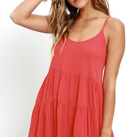 Best Laced Plans Coral Red Babydoll Dress