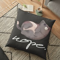 'Grumpy Sleeping Funny Cat' Floor Pillow by lovewithfluff