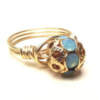 Blue Opal Ring:  Brass Wire Wrapped Ring, Pacific Opal Gold Filigree Ring, Size 8, Custom Size