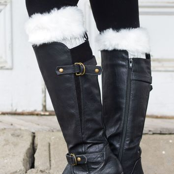 Alaska-Inspired White Boot Cuffs with Fur Topper